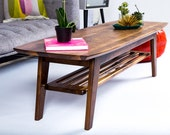 "Walnut Coffee Table, Tulip Table, Mid Century Modern Coffee Table ""THE SOHO"""