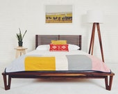"Queen Platform Bed, Mid century Modern Bed, Walnut Bed, Wood Bed Frame ""The Baxter"" Bohemian Decor mad men"