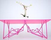 "Modern Table, Modern Coffee Table, Coffee Table, Geometric base, Industrial Modern, Pink, Steel, ""The Yoshi Steel"""