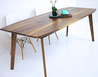 Dining Table Walnut Modern Wood Mid Century The Santa Monica Mixed Solid Black