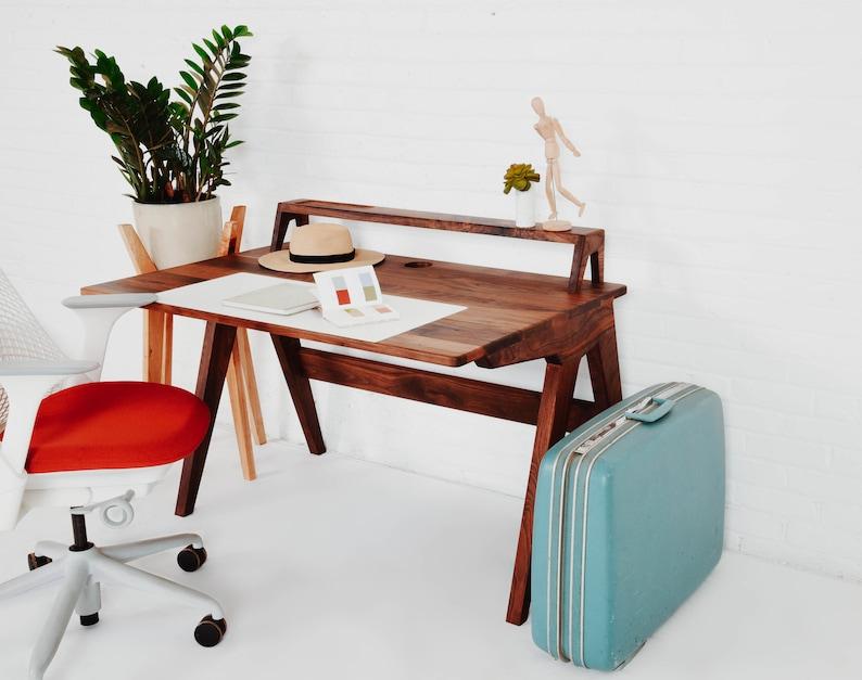 Modern Walnut desk, Mid century Modern Office Desk, Home office Walnut  Writing desk, \