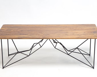 "Coffee Table, Geometric, Mid century Modern, Powder coated table, Modern Walnut Coffee Table, Black ""The Yoshi"""