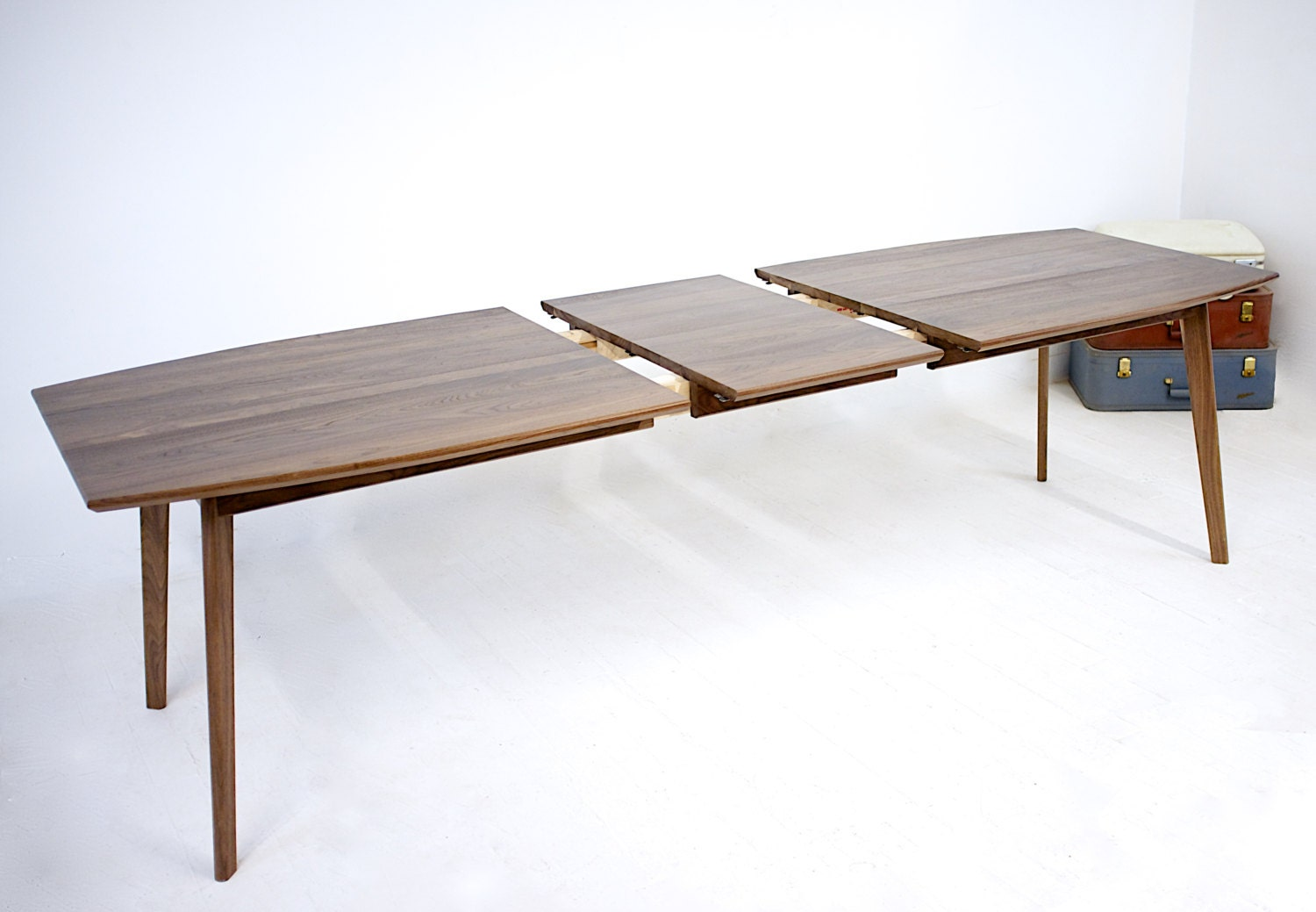 Extendable Modern Walnut Dining Table Mid Century Modern Etsy