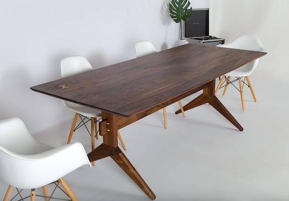 Mid Century Modern Walnut Dining Table The Etsy