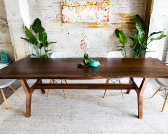 """Live Edge Walnut Dining Table, Conference Table, Live Edge Dining Table, Claro Walnut Dining Table, Modern Dining Table, """"The April"""""""