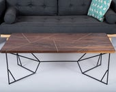 "Brass Coffee Table, Coffee Table, Brass , Geometric, Modern Coffee Table, Walnut Coffee Table: ""The Provo"""