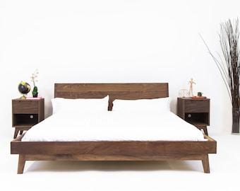 """Scandi Bed Frame,  Japandi Platform Bed, Modern Walnut Bed """"The Bosco"""""""