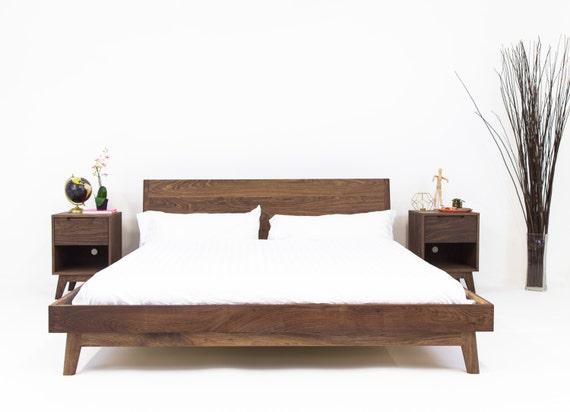Mid Century Modern Bed Modern Platform Bed Frame Walnut Bed Etsy