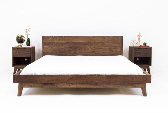 Walnut Platform Bed Frame Mid Century Modern Bed Wood Bed Etsy