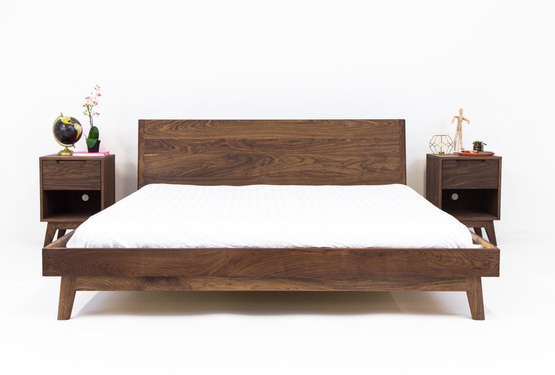 Walnut Platform Bed Frame Mid Century Modern Bed Wood Bed