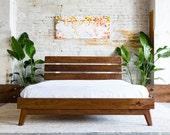 """Mid Century Modern Bed Frame, Walnut Bed Frame, Queen Platform Bed, Platform Bed Frame,  """"The Stowe"""""""