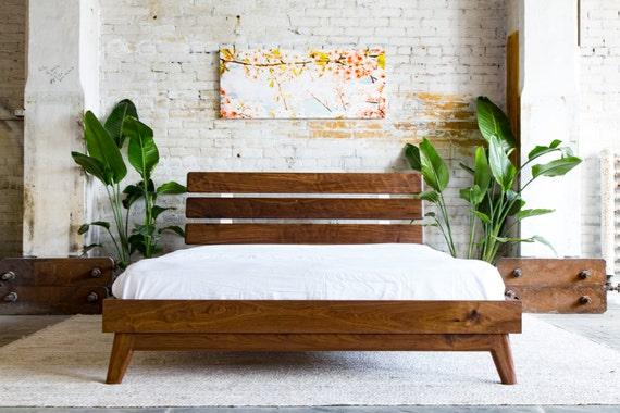 Au milieu du siècle, cadre de lit moderne, cadre de lit noyer, Queen lit  plate-forme, cadre de lit plate-forme, « Le Stowe »