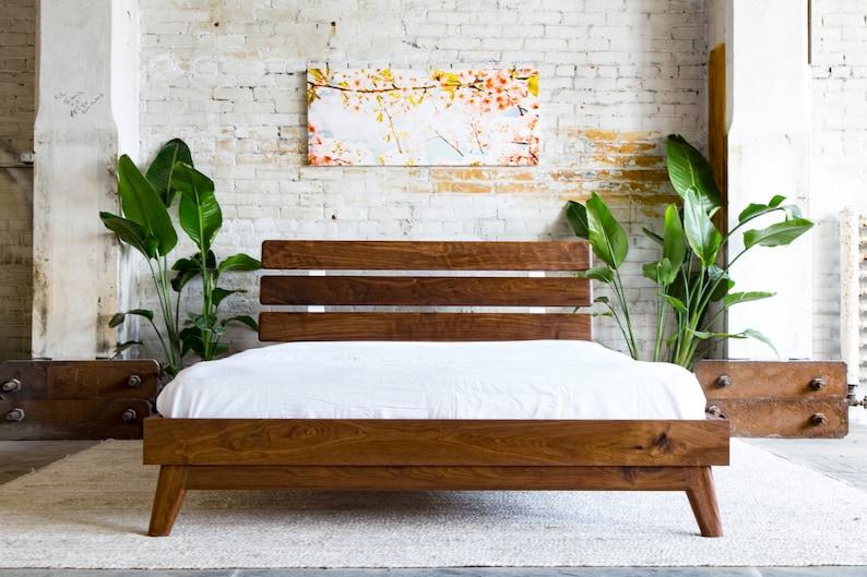 33653eeb1b42 Mid Century Modern Bed Frame Walnut Bed Frame Queen Platform