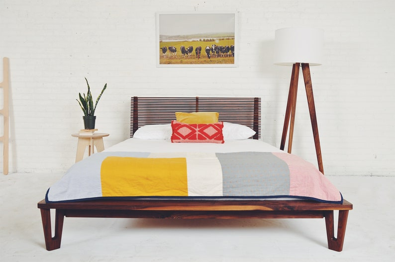 e1e389eec416 Queen Platform Bed Mid century Modern Bed Walnut Bed Wood
