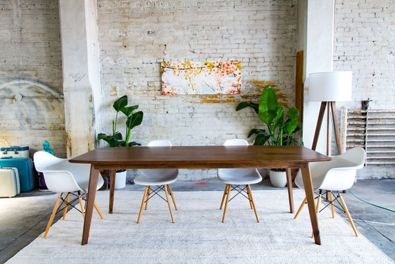 Mid century Modern Dining Table, Dining room Table, Walnut Dining Table,  Farmhouse Table \