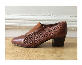 Vintage Woven Cut-out Leather Heels