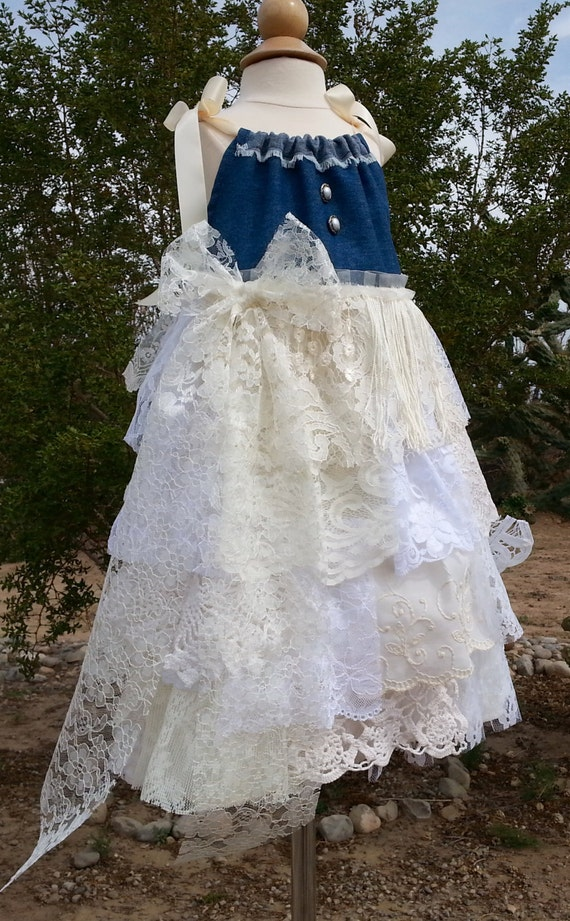 Country Flower Girl Dress Size 56 Denim And Lace Cowgirl Lace Dress Shabby Chic Denim Flower Girl Ready To Ship