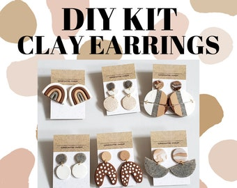 DIY Polymer Clay Earring Kit | Comes with Neutral Polymer Clay Shades & Your Choice of Gold or Silver Jewelry | Makes up to 6 Cute Earrings!