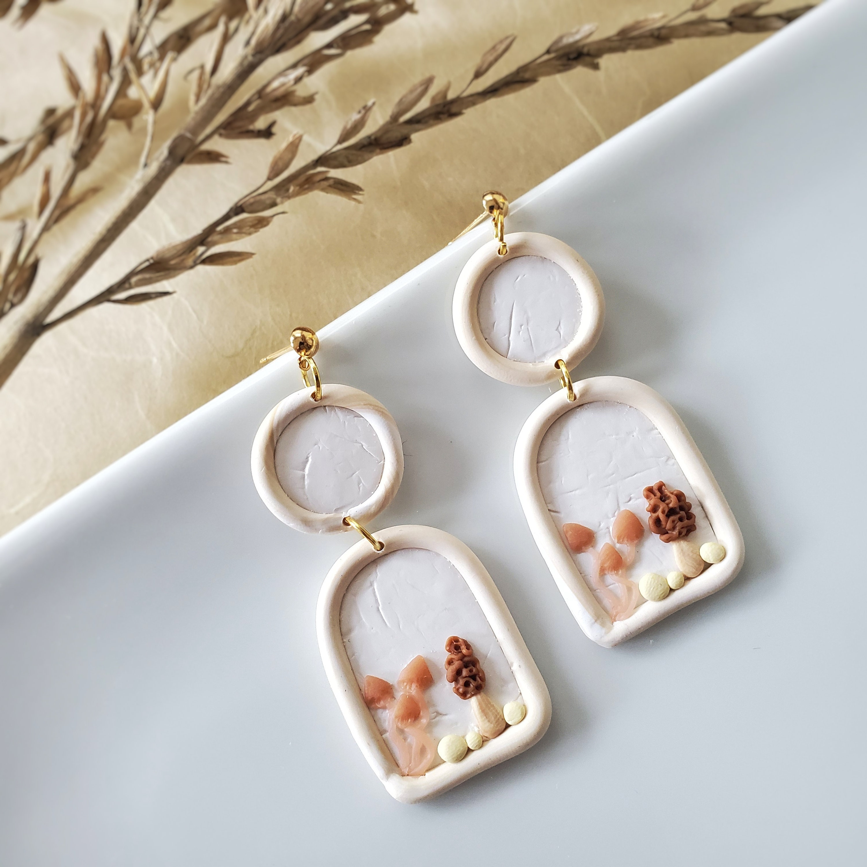 Mushrooms Geometric Earrings Statement Earrings Fungi Gold Polymer Clay Earrings