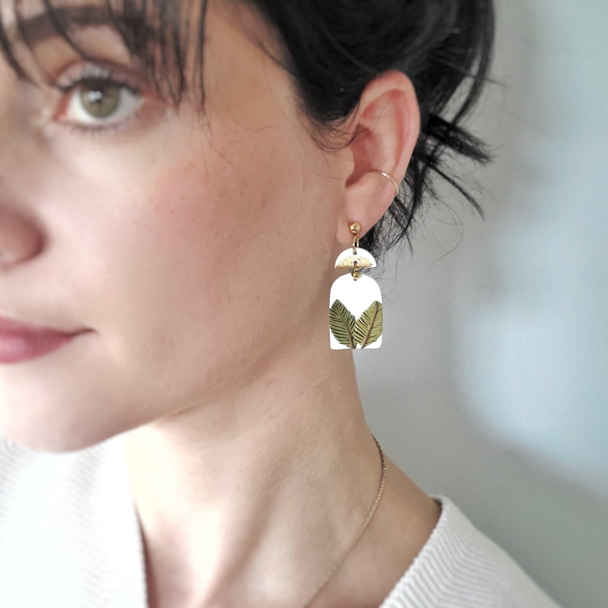 Bold Statement Polymer Clay Earrings eclips tear drop