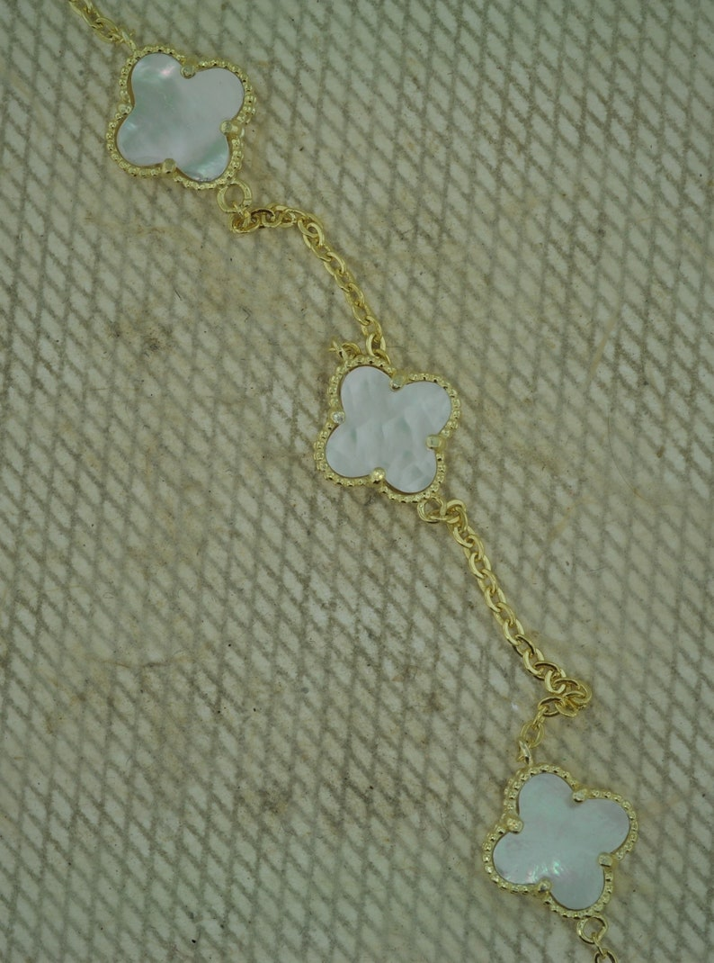 Gold Tone Over Sterling Silver Mother of Pearl Three Bracelet