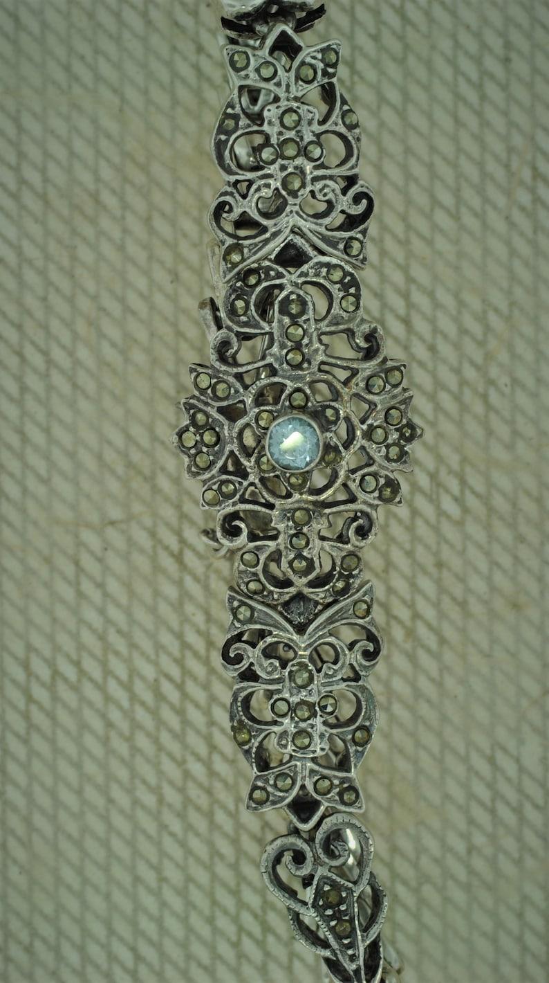 Sterling Silver Marcasite and Blue Topaz Bracelet
