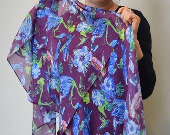 Hummingbirds & Blue Flowers on Burgundy 100% Silk Scarf, Chiffon Scarf, Shawl, Sheer Wrap, Wearable Art, Art Scarf