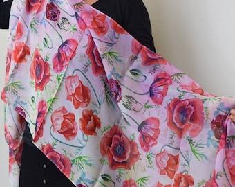 Peach Poppies 100% Silk Scarf, Chiffon Scarf, Art Scarf, Wearable Art, Shawl, Sheer Wrap