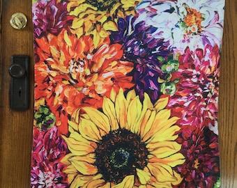 Large Garden Flag, Sunflowers with Orange & Fuchsia Dahlias, Wall Hanging, Porch, Yard, Deck, Balcony, Party, Van Gogh style Art