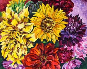 Yellow Dahlia & Sunflower, Fine Art Print, Sunflower Art Print, Van Gogh style painting, Sunflower and Dahlia painting, Autumn Colors