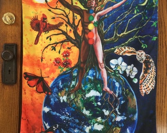 Large Garden Flag, Meditation Art, Wall Hanging, Yoga, Gaia, Wiccan, Earth Art, Chakras, Inspirational Art, LGBTQ pride