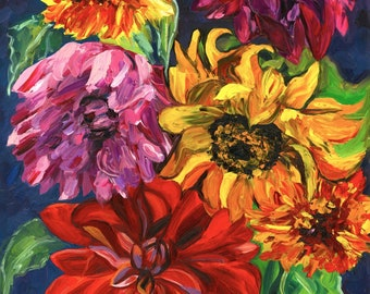Autumn Bouquet, Fine Art Print, Sunflower Art Print, Van Gogh style painting, Sunflower and Dahlia painting, Autumn Colors