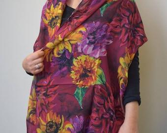 New Wider Size!  Sunflowers & Dahlias on Burgundy, Silk Chiffon Scarf, Shawl, Sheer Wrap, Wearable Art