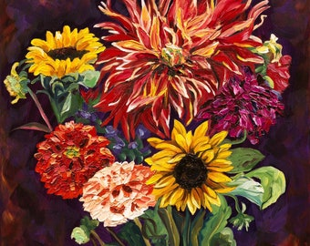Firecracker Dahlia & Sunflower, Fine Art Print, Sunflower Art Print, Van Gogh style painting, Sunflower and Dahlia painting, Autumn Colors