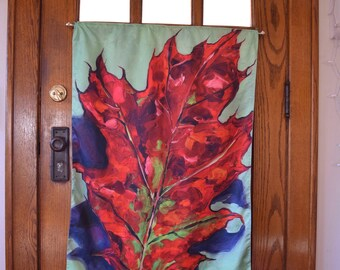 Large Garden Flag, Red Oak Leaf with Green, lawn, yard, porch, balcony, deck, wall hanging, indoor outdoor art