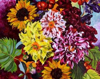 Magenta Dahlia with Sunflowers, Fine Art Print, Sunflower Art Print, Van Gogh style painting, Sunflower and Dahlia painting, Autumn Colors