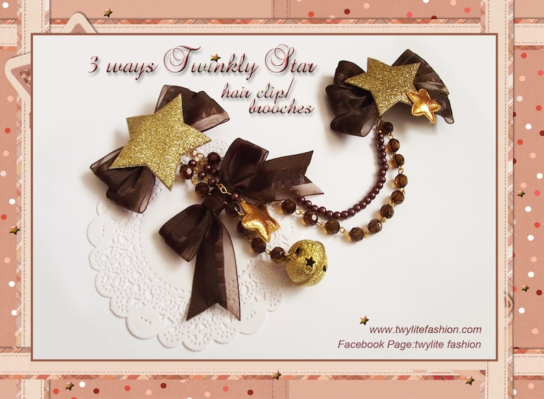 3 ways Twinkly Star hair clip/brooches  Christmas Accessories image 0