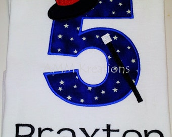 Personalized Number Applique Shirt Magic Show or Talent Show with a Wand and Hat