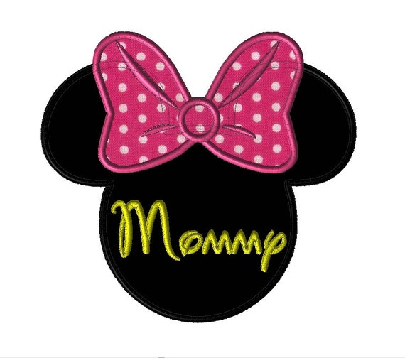 Mommy Minnie Mouse Face With Bow Adult Applique Shirt Etsy