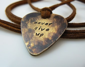 Guitar pick necklace, hand stamped, Plectrum, never give up, silver, gold, antique gold,  Father's Day Gift, Valentine's Day Gift