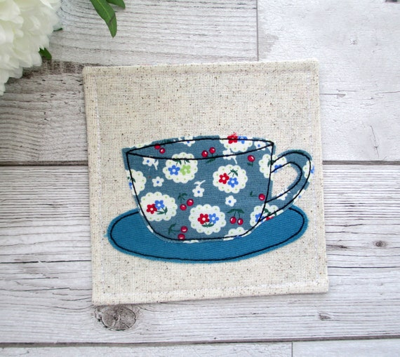 Blue Fabric Coaster Coffee Lover Gift Birthday