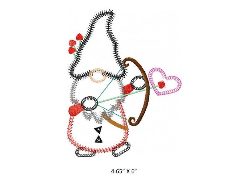 Valentine Gnome 2 applique design Instant download available Hoop size is 5\u201d X 6\u201d.