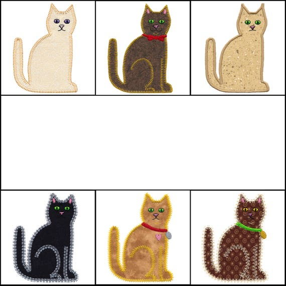 Set Of Calico Cat Applique Machine Embroidery Designs Instant Etsy