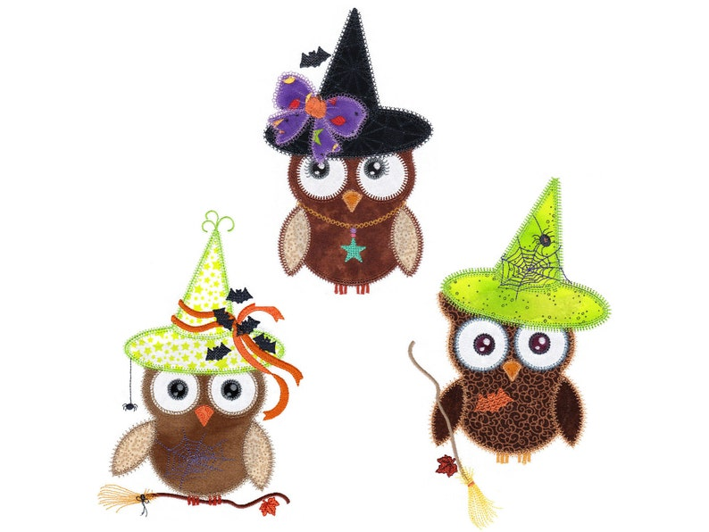 Witchy Owls applique embroidery design. Instant download image 0