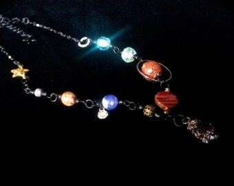 Real METEORITE Drop - SOLAR SYSTEM Necklace of Planetary Order - Statement Necklace - Space Princess - Planet 9 Edition