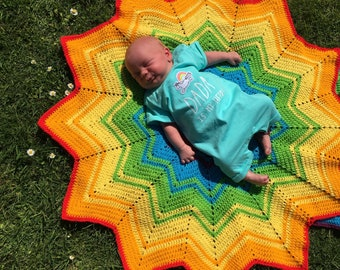 Rainbow round ripple crochet baby blanket