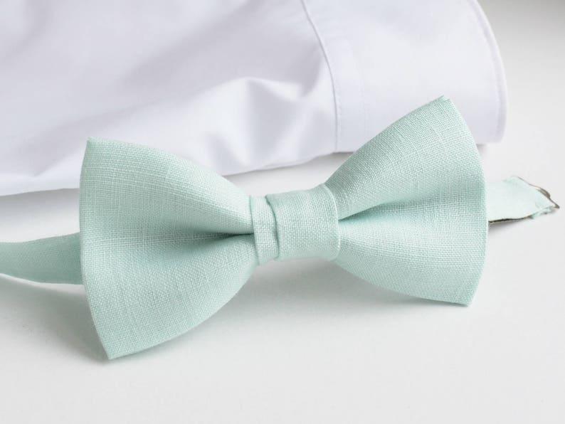 35d21061224b Mint Green Bow Tie Pale Mint Linen Bow Tie Men's Bow Tie | Etsy