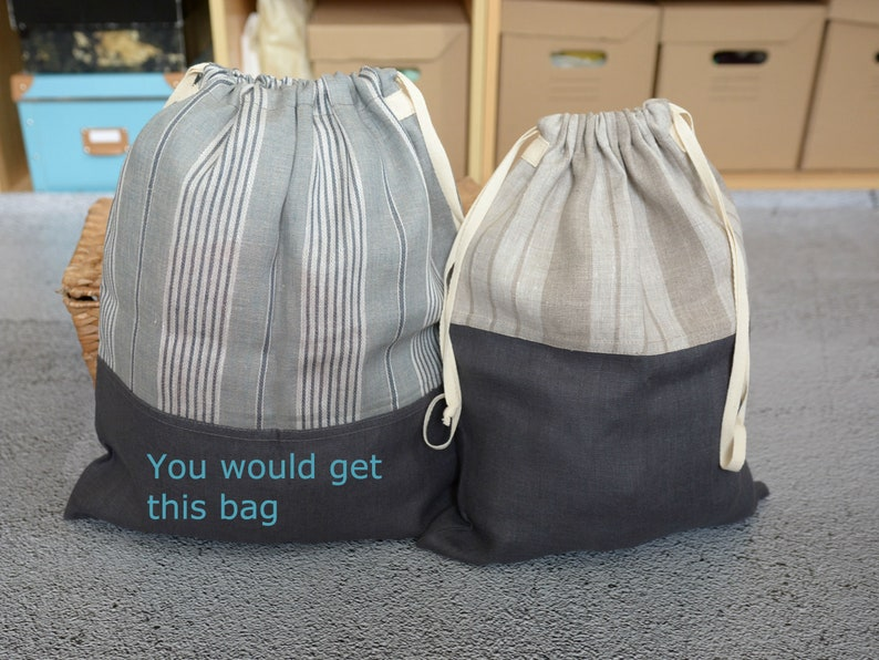 Clothing Storage sack Grey Stripy Linen Laundry Bag Duffel Bag Drawstring Travel Laundry Bag Student Laundry Bag