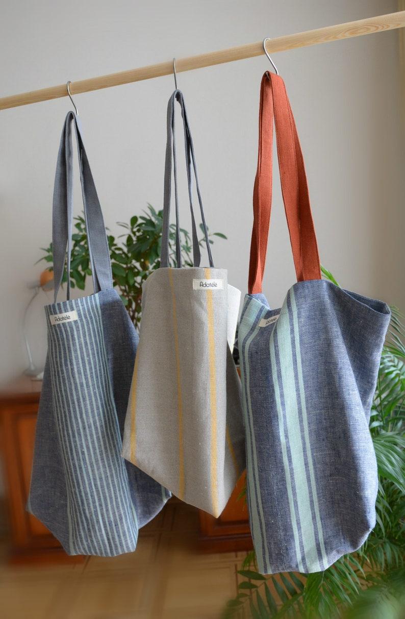 Large blue striped linen canvas shopper bag Beach Bag Market bag with long straps