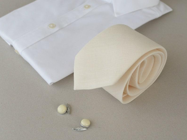 19689ca9a0149 Cream white Linen Necktie - Groom's Neck Tie - Plain Ivory Wedding neck tie